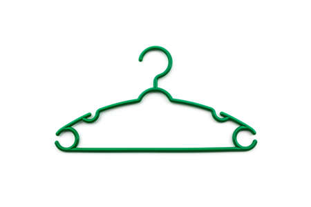 Colorful of hanger clothes on white background.  photo