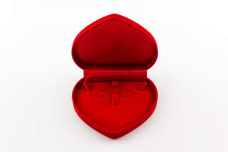 Empty jewel box red heart shaped gift box. photo