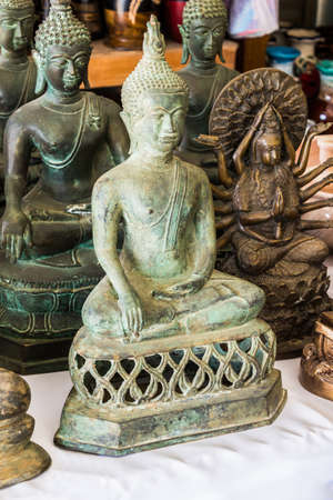 statuette: Buddha images, Many old Buddha statue, Thailand ,Asia