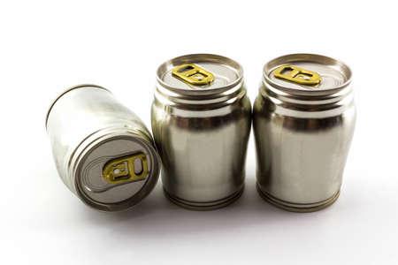 Group of aluminium tin can on white backgroud. photo