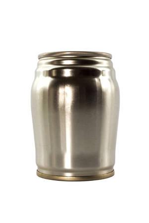 Aluminium tin can isolated on a white backgroud. photo