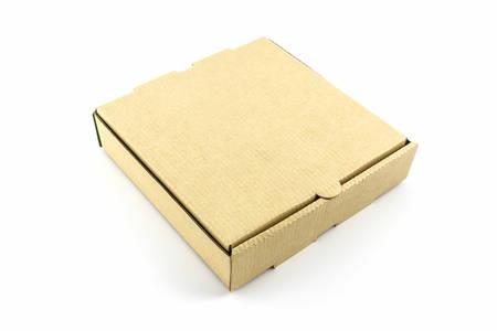 Cardboard pizza box isolated on white background.  photo