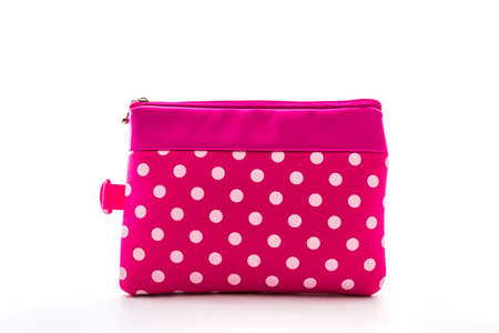 Pink makeup bag on white background, accessory.