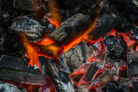 Fire on charcoal for food grilling in an oven.  photo