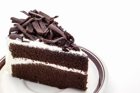 custard slice: Chocolate cake slice on white background.  Stock Photo