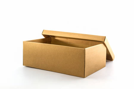 Brown shoe box on white background with clipping path.  photo