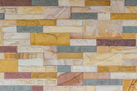 Colorful of brick wall texture background, stained tiled brickwork horizontal pattern.  photo