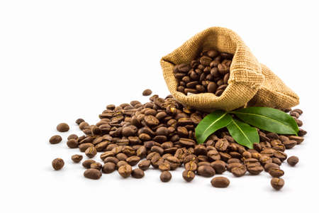 Brown roasted coffee beans in a canvas sack on white background.