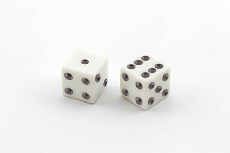 White dice on white background. photo