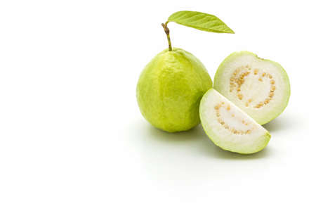 Guava on white background. Fruit with from tropical zone.  photo