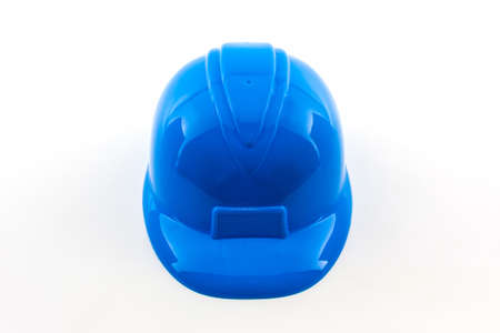 safety wear: Blue construction helmet on white background.