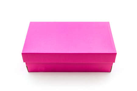 Pink shoe box on white background with clipping path. For shoes, electronic device and other products.  photo