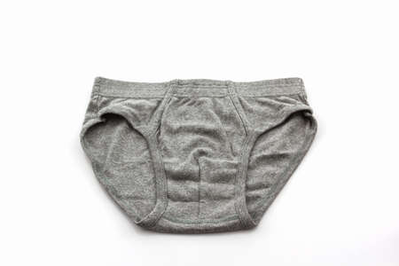 Gray Male underwear on the white background.  photo