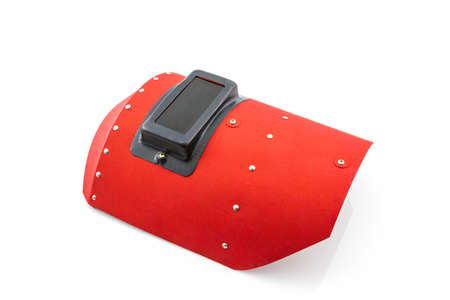 Red protective screen on white background. photo