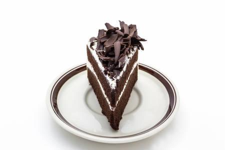 custard slice: Close up Chocolate cake slice on white background.  Stock Photo
