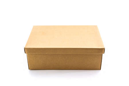 Brown shoe box on white background with clipping path. For shoes, electronic device and other products.  photo