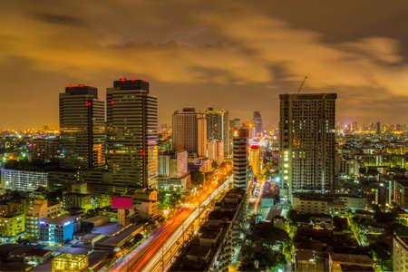 Skyline of Ratchadaphisek Road in Bangkok, Thailand.