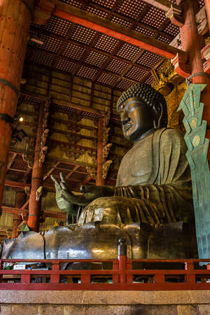 Great Buddha at Todai-ji temple in Nara, Japan.
