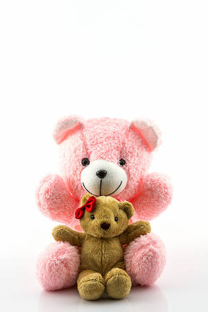 Pink and brown teddy bear on white background.