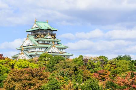 Kasteel van Osaka in Osaka Japan mijlpaal van Unesco. Stockfoto
