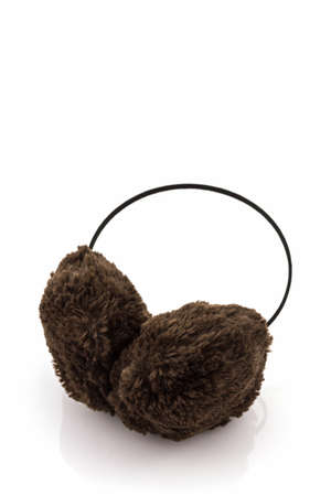 ear muff: Brown fuzzy winter ear muff on white background.
