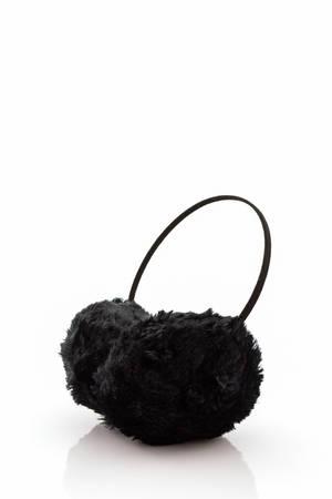ear muff: Black fuzzy winter ear muff on white background. Stock Photo