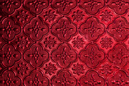 anteojos: Colorido del modelo del fondo de cristal de ventana en la casa de estilo tailand�s. Foto de archivo