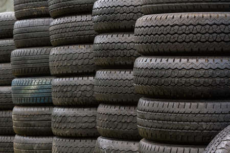 Stack of old wheel black tires Stock Photo