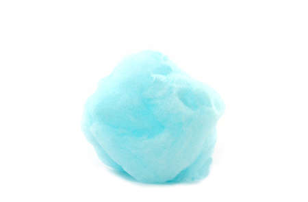 Blue spun sugar on white background, Cotton Candy.