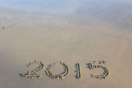 Year 2015 number written on sandy beach, nature background. photo