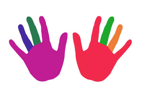 Clipart of Colorful hands isolated on white background.