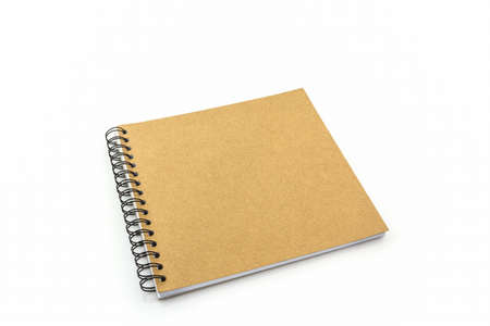 sketch book: Close up sketch book on white background. Stock Photo