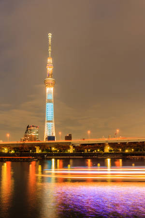 Tokyo,Japan - October 26,2014 : View of Tokyo Sky Tree (634m) at night, the highest free-standing structure in Japan. photo