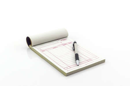 INVOICE: Invoice book which open blank page with pen on white background.