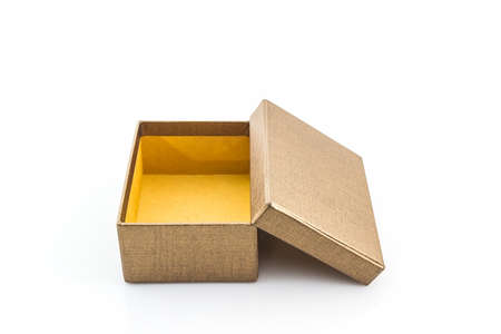 shoe box: Brown shoe box on white background