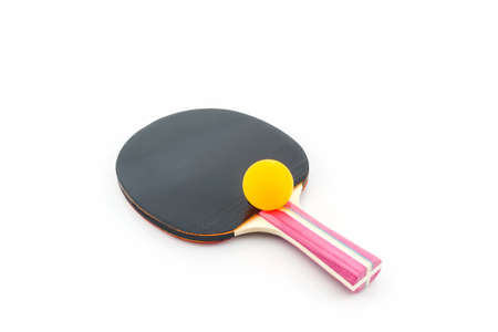 table tennis: Table tennis (ping-pong) racket and a ball on white background. Stock Photo