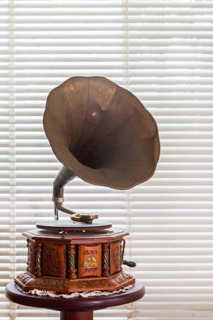 Retro old gramophone with horn. photo
