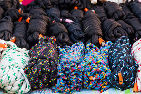 nylon: Stack of Coiled Nylon Rope for sale..