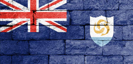 anguilla: Flag of Anguilla painted over on old brick wall. Stock Photo