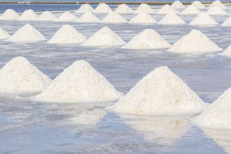 briny: Farmers are harvesting salt in the salt fields, south of Thailand. Stock Photo
