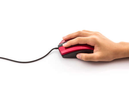 mouse click: Contemporary red with black computer mouse in hand on white background.