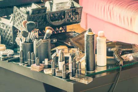 Group of makeup artist work professional occupation, vintage color. Reklamní fotografie