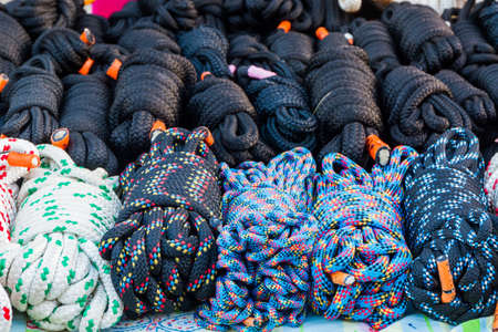 nylon: Stack of Coiled Nylon Rope for sale.