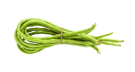 long bean: Yard long bean on white background. Stock Photo