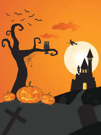necropolis: Halloween night background with castle on the moon background, pumpkins and witch, illustration.