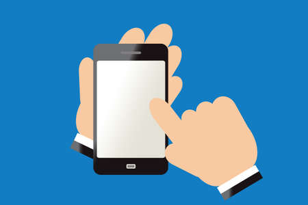 smart phone hand: Finger of hand touching screen on smart phone.