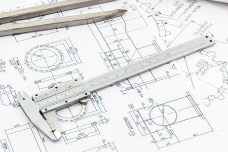 industry background: Vernier scale on blueprint background, Industry concept.