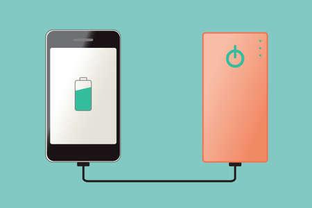 Smartphone opladen aan te sluiten op powerbank, vector illustratie pictogram. Stock Illustratie