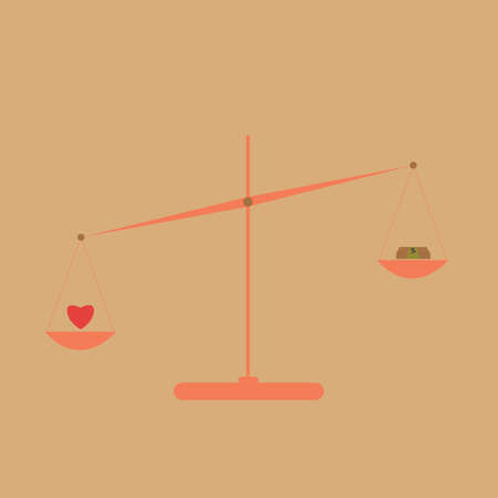 outweigh: Vector of the concept of balance between money and heart on scales.