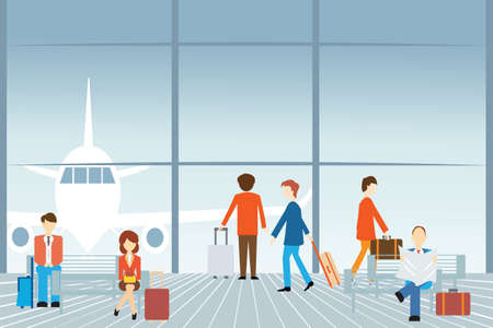 People at the airport, Vector illustration. Vettoriali